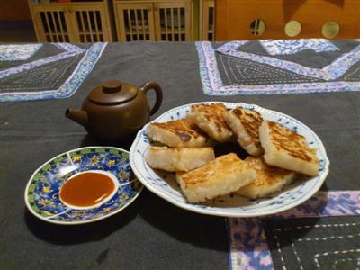 traditional taiwanese luo bo gao, or white radish cake, fried