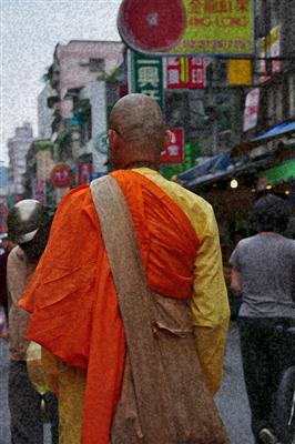 A monk in the market